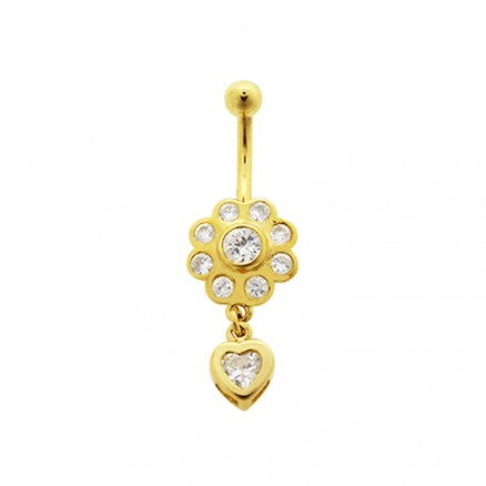 High Quality Zirconia With14K Gold Moving Navel Ring