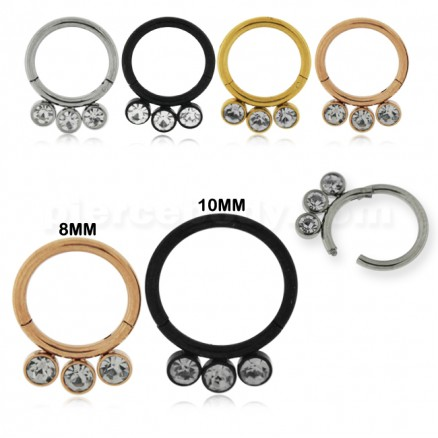 3 CZ Stones in Bezel Set Hinged Segment Clicker Ring